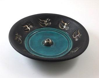 Raku Aum Incense Burner Handmade Raku Pottery