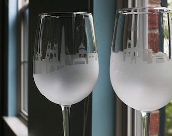 Etched Washington D.C. Skyline Silhouette Wine Glasses