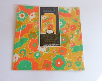 1960s Folded Gift Wrap Wrapping Paper w Gift Cards NOS Flower Power Bridal Shower GIBSON unused