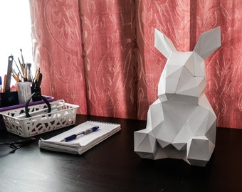 Make your own Easter Rabbit Papercraft Low Poly Bunny DIY
