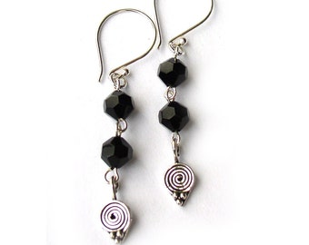 Black Crystal Dangle Earrings Sterling Silver Mourning Jewelry