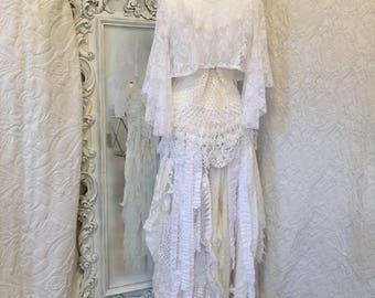 Boho wedding dress free spirit,Gypsy wedding eco,Fairy wedding dress,alternative wedding bohemian,tattered set,bridal gown relaxed,Rawrags,