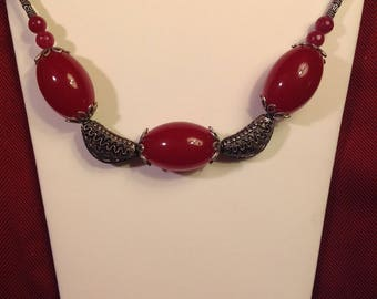 Really Raspberry: Raspberry Jade Necklace with Bali Silver