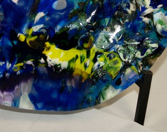 Blue Boiled Fused Glass Bowl