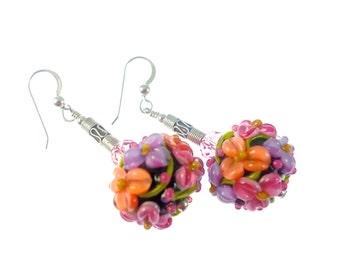 Black Floral Lampwork Glass Bead Earrings, Peach Pink Lavender Flower Earrings, Statement Earrings, Dangle Drop Earrings, Lampwork Jewelry