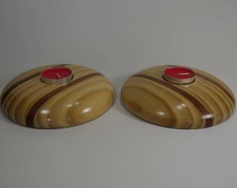 Accoya and Sapele tea light holder (pair)