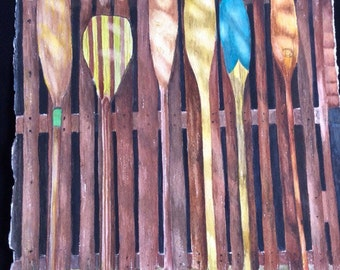FREE SHIPPING!! Watercolor print of vintage canoe paddles standing up on a fence