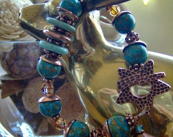Turquoise Gemstone Bracelet-Mosaic Gemstone Turquoise and Copper Bracelet-Copper Bracelet-Artisan Bracelet-Statement Jewelry-SRAJD