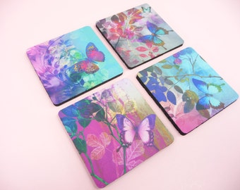 """BUTTERFLY COASTERS Set of 4 Butterflies Foliage Garden Decor Desk Table Gift Giving Beautiful Vivid Colors 3.5 inch x 3.5"""""""