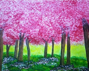 Cherry Blossoms, spring, cherry trees, spring landscape, wall art