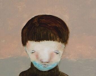 "Little boy portrait art. Boys room wall decor wall art ""Moody"""