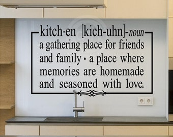 Kitchen noun definition   vinyl lettering wall sayings decal quote sticker