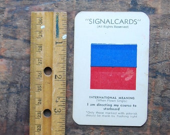 "Vintage Signal Card, WWII Era, Navy International Code Flag "" Easy E "" "" I am directing my course to starboard """
