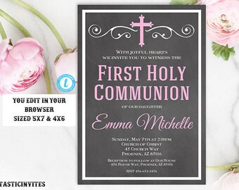 First Communion Invitation Girl, Girl First Communion Invitation, First Communion Invitation Template, First Communion, INSTANT DOWNLOAD