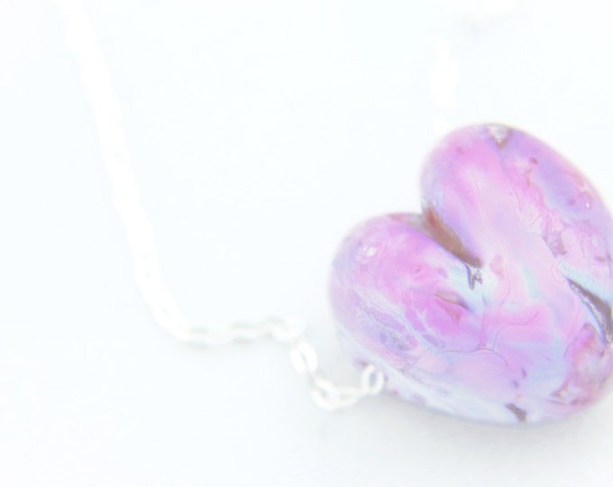 Pink Purple / heart shape pendant/ hand made/ sterling silver chain/ lamp work heart pendant by Destellos - Glass Art & Accessories