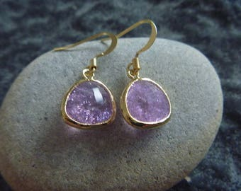 Golden Earrings: purple Crystal