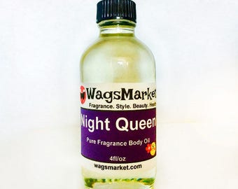 Night Queen Perfume Oil, Roll On Bottle, 1/3oz, 1oz, Pure Fragrance Body Oil.