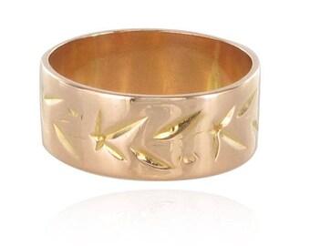 Antique gold rose engraved ring