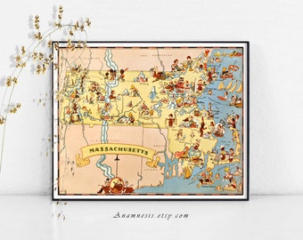 MASSACHUSETTS MAP - High Res Digital Image - printable vintage map for framing, totes, wedding gifts, tags etc. - perfect house warming gift