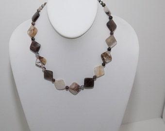Opal Quartz  and Silver leaf Jasper Necklace