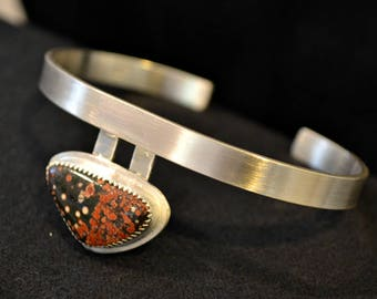 Olympic Poppy jasper sterling silver cuff  bracelet.  Brush Finish.  Fits up to 7 inch wrist