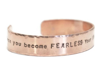 Fearless Limitless - Hand Stamped Cuff Bracelet - Thick Copper - Men's Jewelry