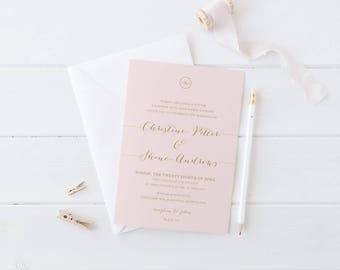 Digital Wedding Invitation Suite, Blush Pink, Gold, Cream, Free Colour Changes, Printable File or Professionally Printed, Elegant Blush