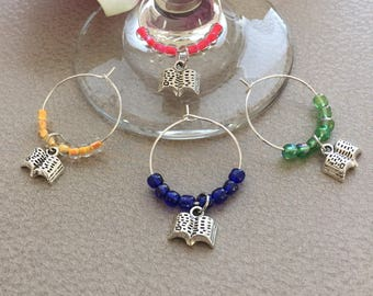 Book Wine Charms Set of 4 Beaded Wine Glass Charms Book Club Wine Charms Stemware Charms Silver Book Charm Book Club Gift Wine Lover Gift