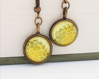 Honeycomb Natural History Earrings Dangle Hook Honey Bee Yellow Gold