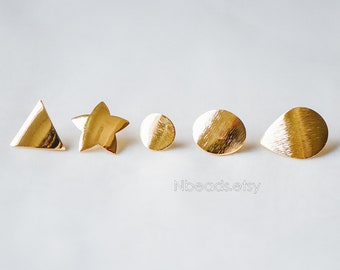 Gold Ear Posts with Loops, Real Gold Plated Brass, Triangle Star Round Oval Teardrop Geometric Earrings (GB-263)/ 10pcs =5 pairs