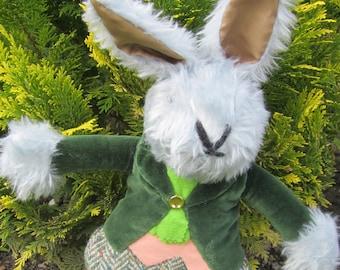 Dressed Plush Rabbit Ornamental Toy Graham Grey Rabbit Adoption Introduction Present Shower Party Centrepiece Bedroom or Nursery Decoration