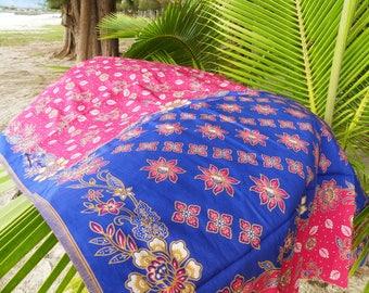 Malaysian / Indonesian batik sarong 100% cotton, bright pink floral pattern