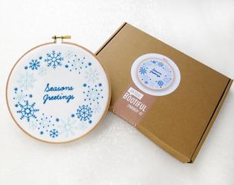 Christmas Embroidery Kit, Seasons Greetings Needlework, Xmas Craft Kit For Adults, DIY Christmas Decoration, Winter Hoop Art, Snow Wall Art
