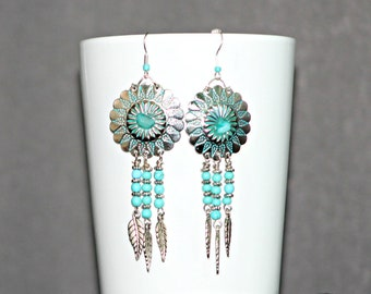 Turquoise Silver Concho Earrings,Southwest Turquoise Silver Earrings,Turquoise Silver Dangle Earrings,Turquoise Silver Feather Earrings