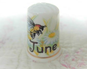 BirchcroftThimble -  Month of June with a Bee and Daisies Collectors Thimble