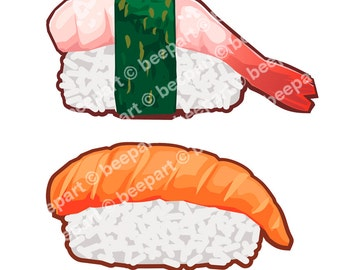 Sushi clip art multi-pack, 5 sushi rolls illustrations with transparent background, royalty free clip art,INSTANT DOWNLOAD