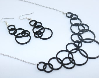 Set necklace earrings infinite circles