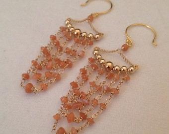 GENUINE Peach Moonstone Drop Dangle Earrings in 18k Gold Vermeil or Sterling Silver Trending Jewelry and Gemstones Gypsy Gemstone Earrings