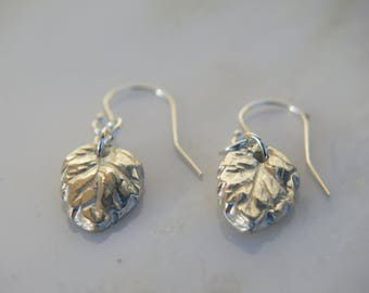 Fine Silver Earrings, Metal Clay Jewelry, Leaf Shaped, Fun Flirty Jewelry, Small Drop Earrings, Unique, One of a Kind, OOAK, Gift for Her