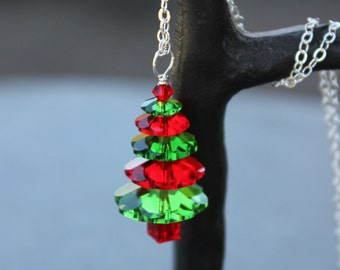 Fern Green & Cherry Red Crystal Christmas Tree Necklace - sterling silver chain, red and green Swarovski crystals - free shipping in USA