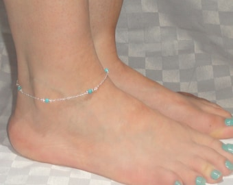 Sterling silver turquoise anklet, Turquoise ankle bracelet, Ankle jewelry, Ankle bracelet UK, Gifts, Gemstone anklet
