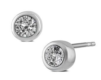 Small CZ Diamond Stud Earrings, 925 Silver, Rub-over Setting (6MM).
