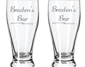 Personalized Bar Etched Glass  Choose From Pub, Stemless Wine, Wine, Rocks, Beer Mugs, Champagne