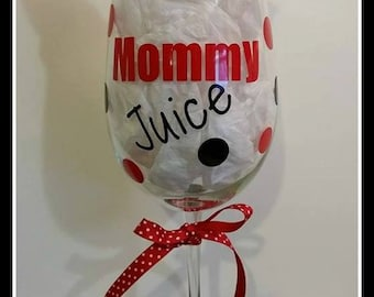 Mommy Juice Wine Glass / Busy Mom Glass / New Mom Wine Glass / Large Size