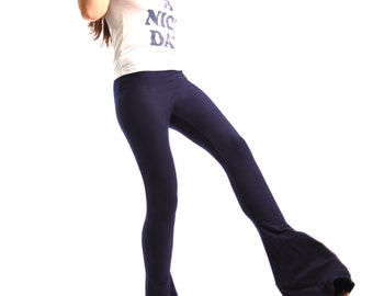Flare Pants - Bell Bottoms - Extra Long High Waisted Navy Bellbottoms - Ankle Flares - Cotton Yoga Mini Flare Pants Sizes XS, S, M, L, XL