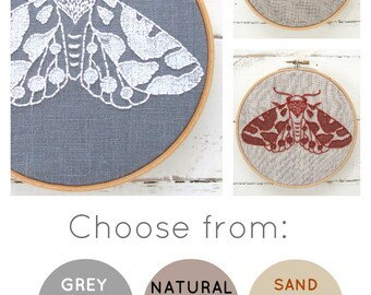 DIY embroidery KIT, moth embroidery pattern, modern embroidery kit, moth needlecraft kit, DIY craft kit, kits by  iHeartStitchArt