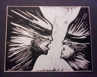 """First Edition """"Yes, I am"""" linocut"""
