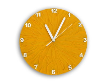 SUN yellow WALL CLOCK with numbers, unique wall clock, yellow clock , yellow and white home decor, modern sun decor, office decor,