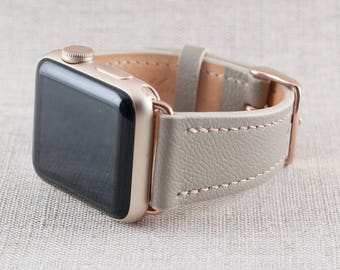 38MM Apple Watch Band- Chèvre Leather Taupe