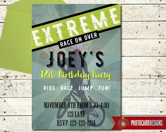BMX Birthday Invitation   BMX   extreme bike invitation   bmx birthday invite   bicycle invitation   BMX Birthday   Extreme Party   Digital
